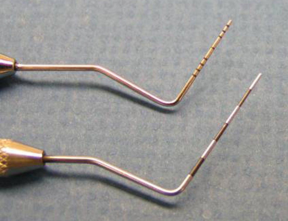 FIGURE 3. Periodontal probes. Increments can be notched directly into the metal tip (top) or indicated by color change (bottom). Increments are usually shown at 1, 3, and 5 mm.