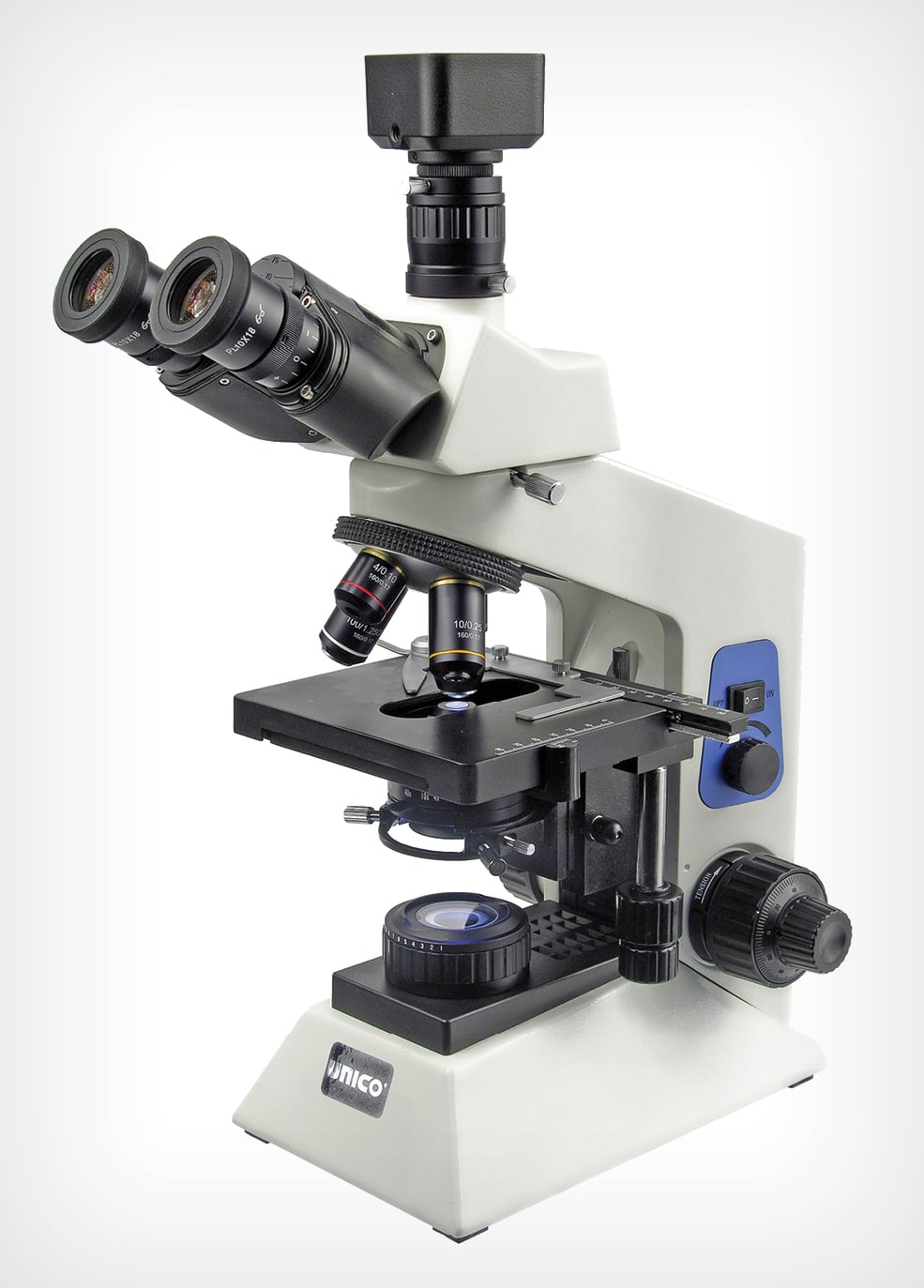 Figure 1. A trinocular head microscope with attached digital camera. (UNICO Microscope; courtesy of VetLab Supply, Palmetto Bay, Florida)