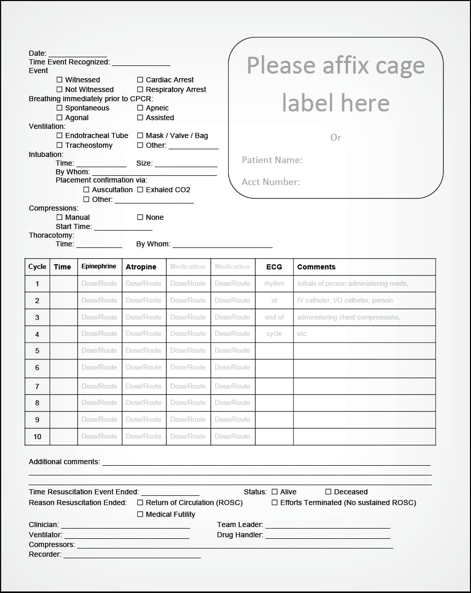 FIGURE 12. Sample CPR record form.