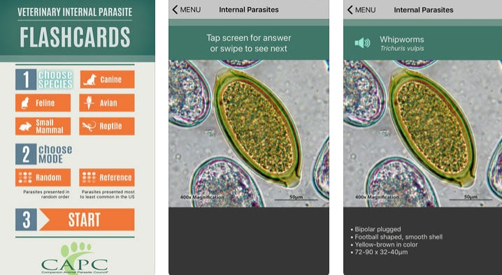CAPC parasite flash card app
